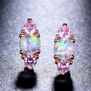 Pink fire opal/quartz rose gold filled earrings
